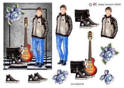 Efterstræbte 3D ark konfirmation dreng med guitar ZP-14
