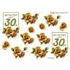 3D ark 30 år lysebrun / gylden roser