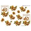 3D ark 40 år lysebrun / gylden roser