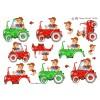 3D ark landmand i rød og grøn traktor