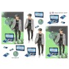 3D ark konfirmation dreng i grå jakke og pc