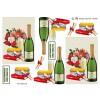 3D ark champagne, blomster og diplom