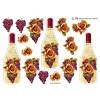 3D ark vinflaske med rose og druer