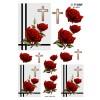 3D ark røde roser og kors