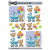 3D ark blå barnevogn, bamse og balloner
