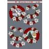 3D ark snelandskab i rød cirkel med julestjerner