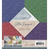 Karton pakke 16 ark glitter 15,2 x 15,2 cm. blå, rød, grøn, lilla