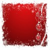 Julekort rød med klokker 14 x 28 cm.