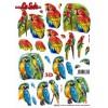 3D ark papegøjer udstanset