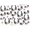 3D ark hestesko m. blå+hvid blomst