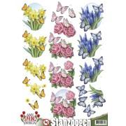 3D ark blomster og sommerfugle udstanset
