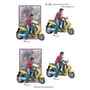 3D ark dreng på scooter