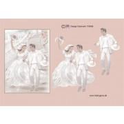 3D ark brudepar på trappe A5