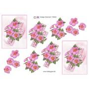 3D ark lyserøde blomster på kors