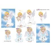 3D ark Engel med harpe og Engel der beder