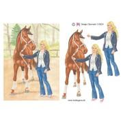 3D ark hest og pige A5