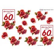 3D ark 60 år røde roser