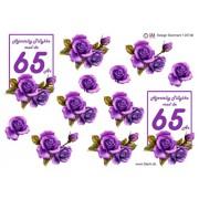 3D ark 65 år lilla roser