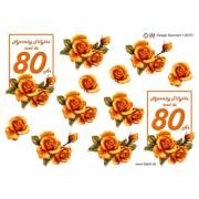 3D ark 80 år orange roser