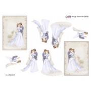 3D ark brudepar med baggrund