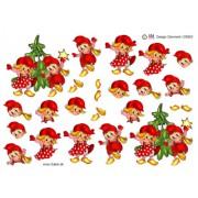 3D ark nissebørn danser om juletræ