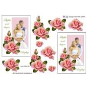 3D ark brudepar med roser