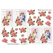 3D ark 2 brudepar med roser