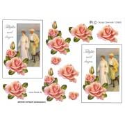 3D ark Tillykke med dagen og lyserøde roser