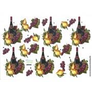 3D ark rødvin med druer