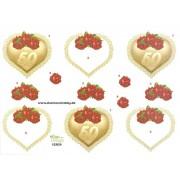3D ark guldbryllup med hjerte