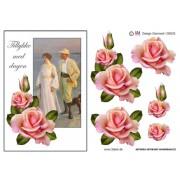 3D ark Tillykke med dagen og lyserøde roser A5
