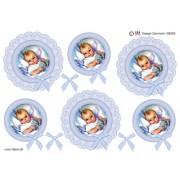 3D ark babydreng i lyseblå blondecirkel