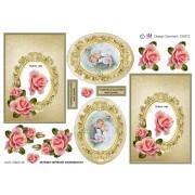 3D ark brudepar i ramme og lyserøde roser