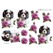 3D ark hundehvalp og rød rose