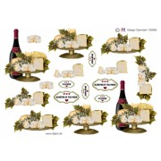 3D ark ostefad og vin