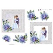 3D ark brudepar med blå rose i firkant