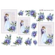 3D ark brudepar med blå rose