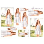 3D ark konfirmation pige i hvid kjole