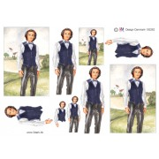 3D ark konfirmation dreng i blå vest og sorte bukser