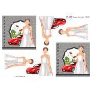 3D ark konfirmation pige med rød sportsvogn