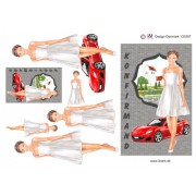 3D ark konfirmation pige med rød sportsvogn - A5