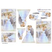 3D ark brudepar ved trappe