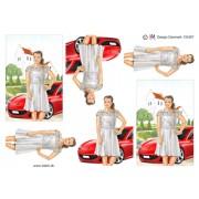 3D ark konfirmation pige ved kirke og rød sportsvogn