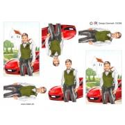 3D ark konfirmation dreng ved kirke og rød sportsvogn