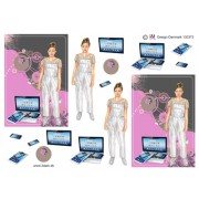 3D ark konfirmation pige i buksedragt og pc