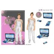 3D ark konfirmation pige i buksedragt og pc A5