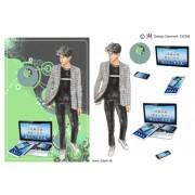 3D ark konfirmation dreng i grå jakke og pc A5