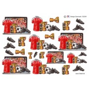 3D ark fodbold, trøje, støvler og pokal