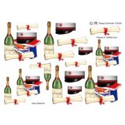 3D ark studenterhue med rødt bånd og champagneflaske