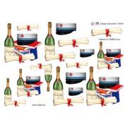 3D ark studenterhue med blåt bånd og champagneflaske